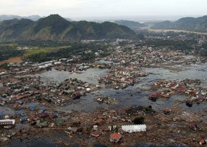A village near the Sumatra coast lays in ruin after the Tsunami.